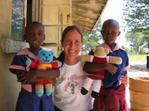 Amy distributes bears in Zimbabwe