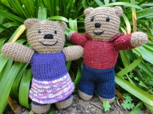 Clara bear and Booth bear ready to travel