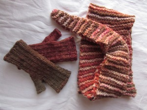 Handspun Baktus and mitts.